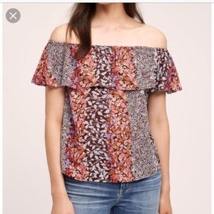 Anthropologie Maeve Floral Off The Shoulder Blouse